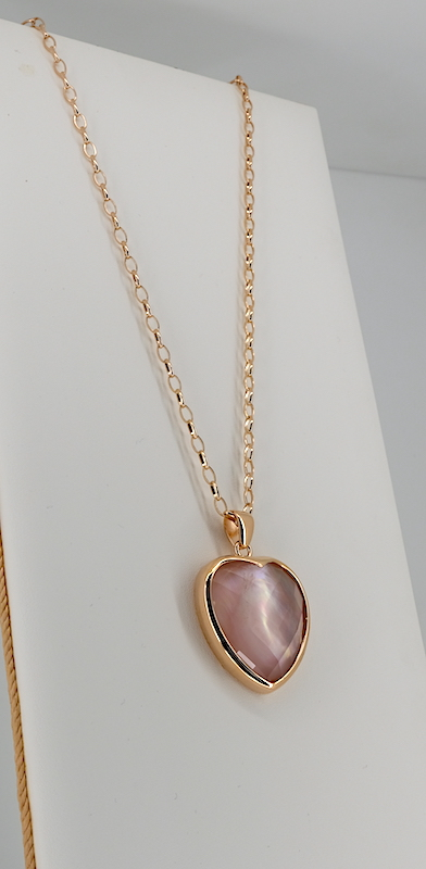 Collana Bronzallure WSBZ00866DPM quarzo rosa e  Golden Rosé 18Kt plated